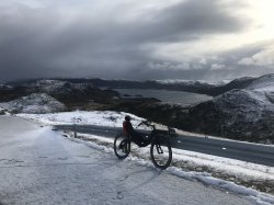 Adrian Voegeli made it in  7 weeks from Switzerland to the North Cape on his M5 Carbon High Racer!
